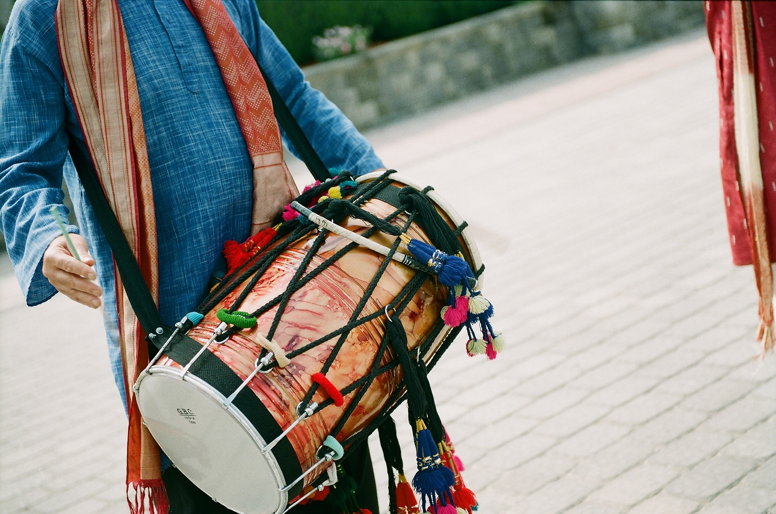 drummer at groom processional indian wedding by wendy g