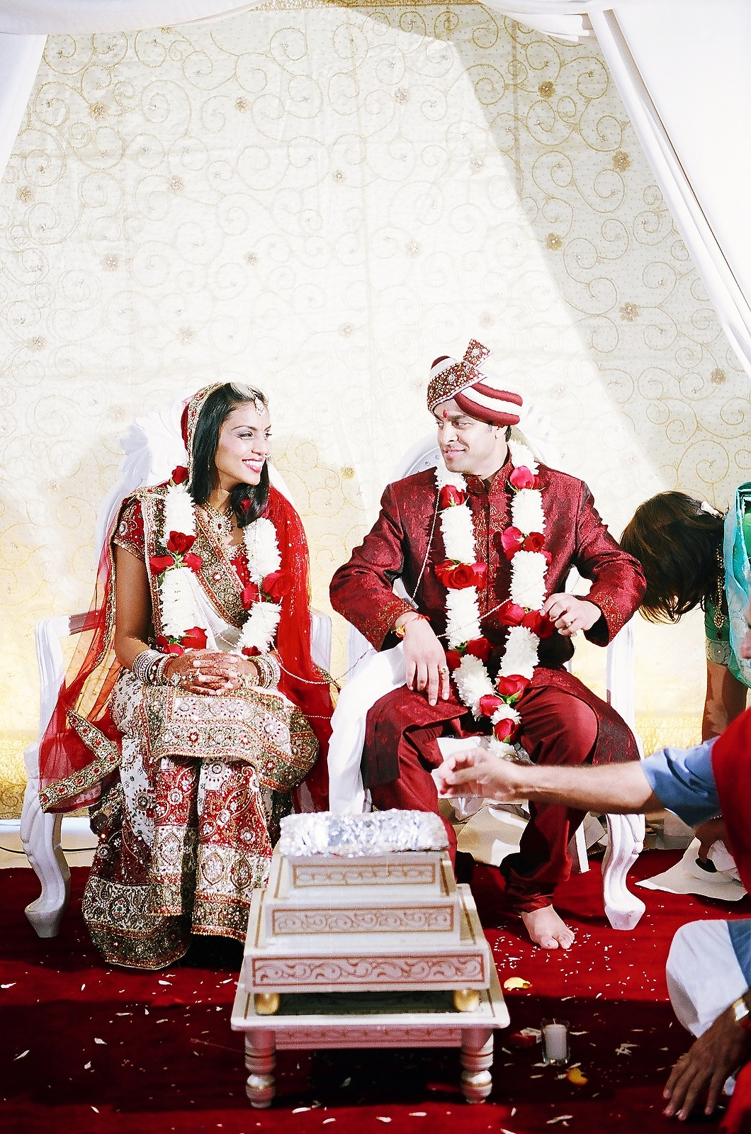 colorful photo of indian couple during wedding ceremony
