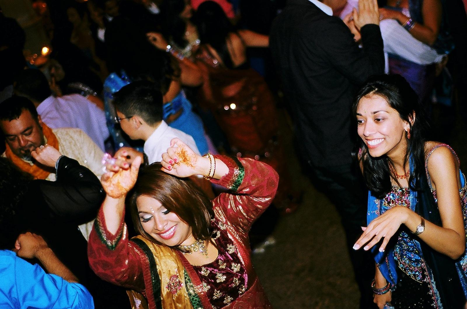 analog wedding photo cerebration guests dancing