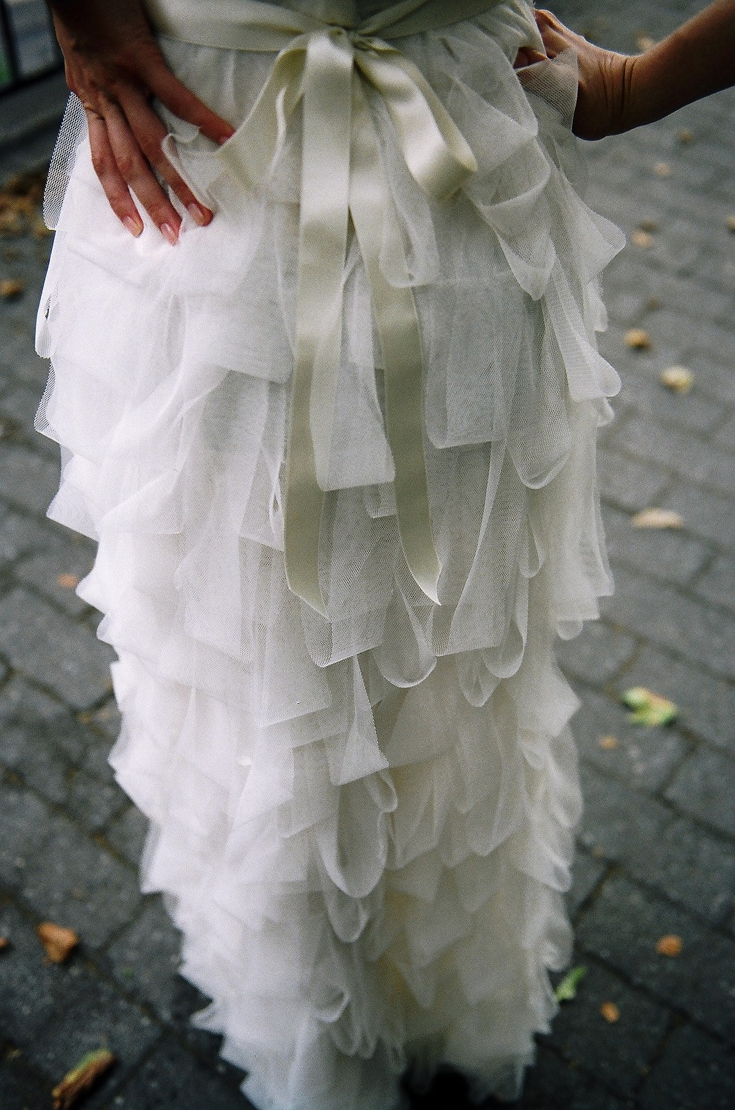 close up of back of bridal gown