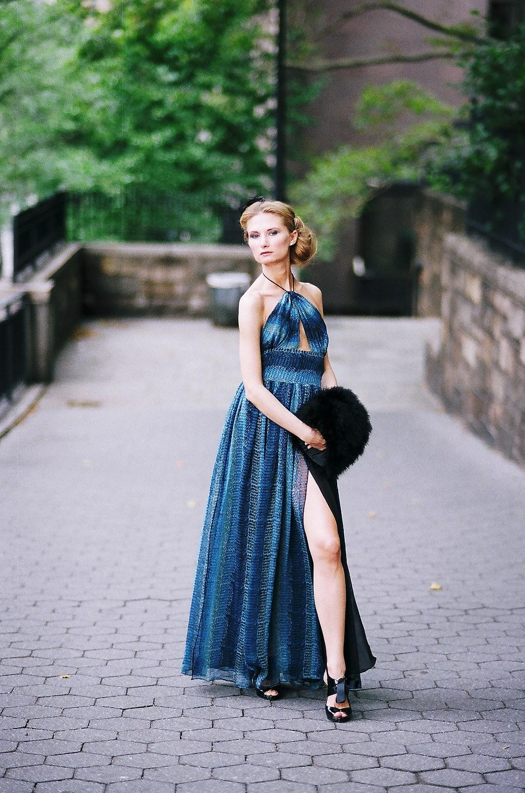 long blue toned dress long split in front