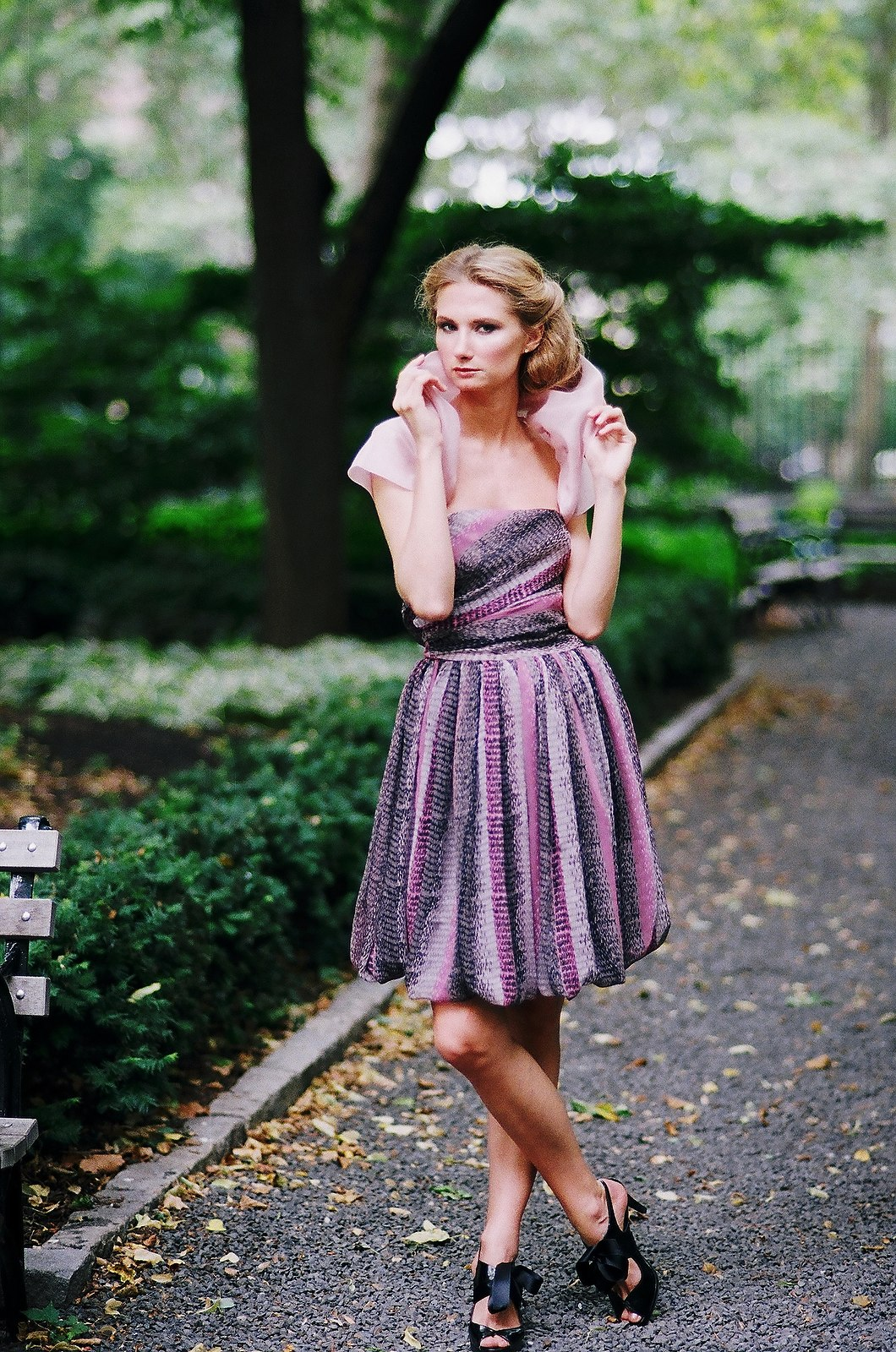 wedding fashion for bridesmaid purple and pink in garden