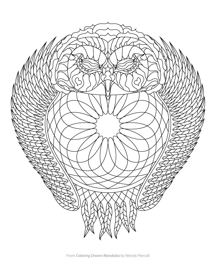 Owl Dreamcatcher Coloring Page from Coloring Dream