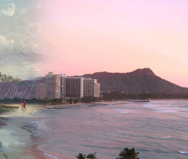 Waikiki Through Time On The Left Rural 1800s Waikiki As Depicted In The Painting Diamond Head Waikiki Beach And Helumoa By Charles Furneaux Blended With