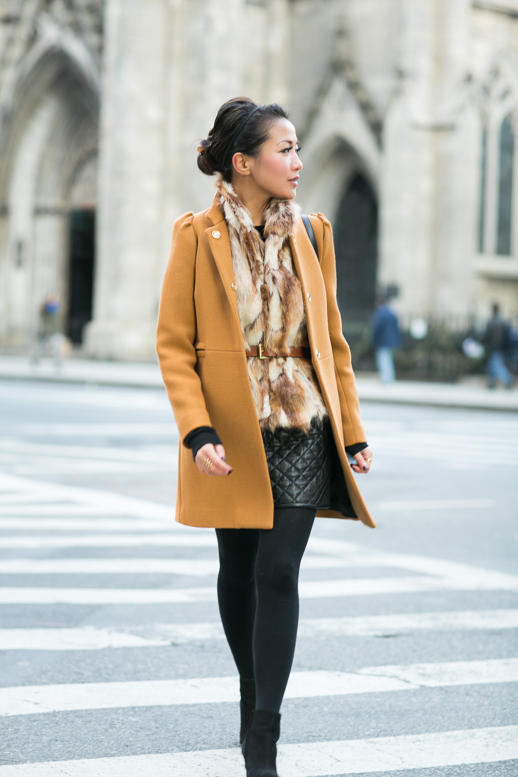 Revenge on Winter  Mustard coat  Quilted skirt  Wendy