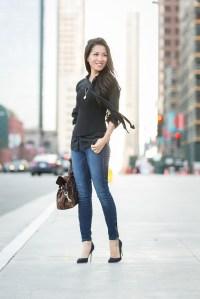 Casual Corset :: Silk blouse & Denim pumps - Wendy's ...