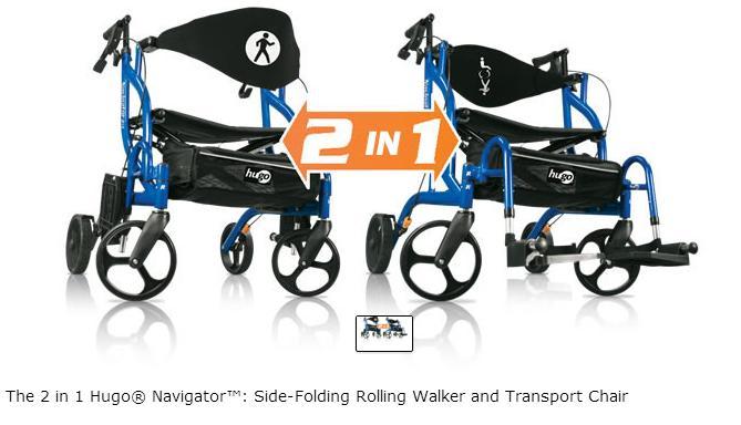 walker transport chair in one hugo navigator inexpensive beach chairs rollator 943 | wheelchair - side folding