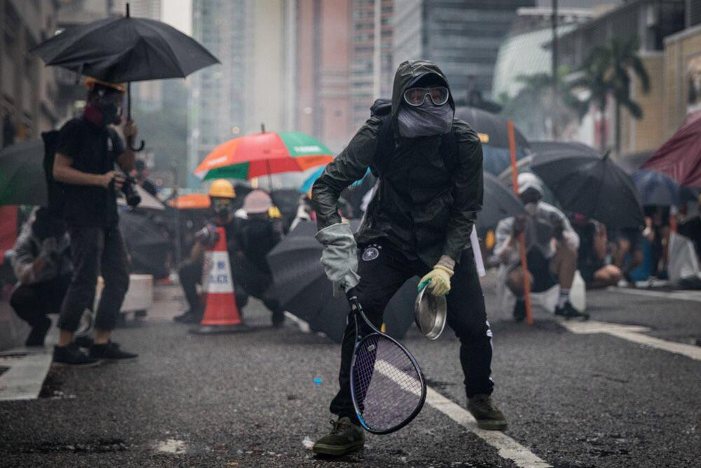 Hong Kong Protestor looking Cyberpunk