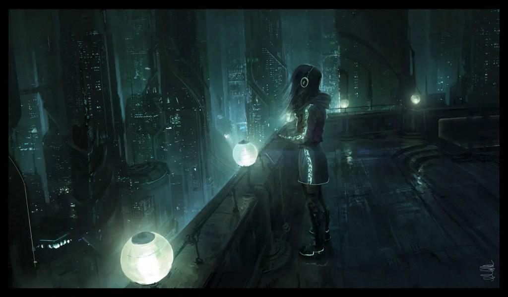 Cyberpunk futuristic city concept art - Girl with Headphones
