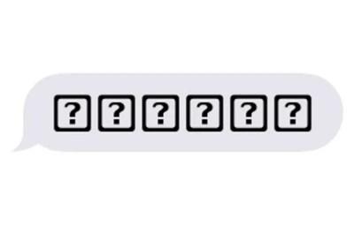 Emoji med frågetecken i ruta eller fyrkant