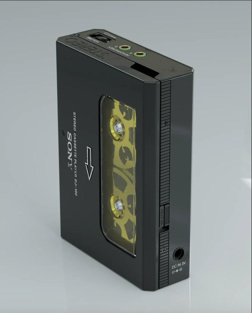 Black and yellow retro-futuristic cassette player product design