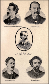 Image result for 1887 – August Spies, Albert Parsons, Adolph Fischer & George Engel are executed as a result of the Haymarket affair.