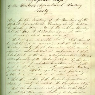 Book number 01 Page 002 Wenlock Agricultural Reading Society -Minutes Feb 25th 1850