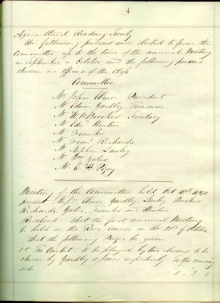 Book number 01 Page 004 W A R S Meeting Minutes 18th Oct 1850