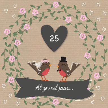 Wenskaartje 25 jaar getrouwd