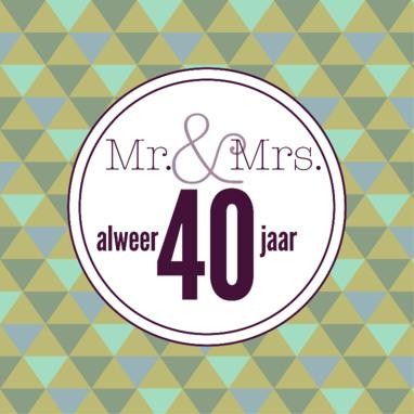 Wenskaartje 40 jaar getrouwd