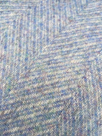 British Wool Rug - Throw Blue Herringbone