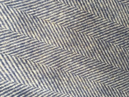 British Wool Rug - Throw Herringbone Navy