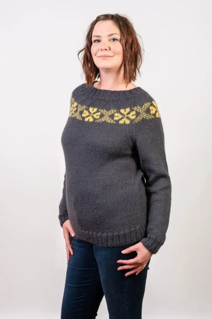 Wensleydale Longwool Stanger Jumper in Storm and Buttertubs Aran