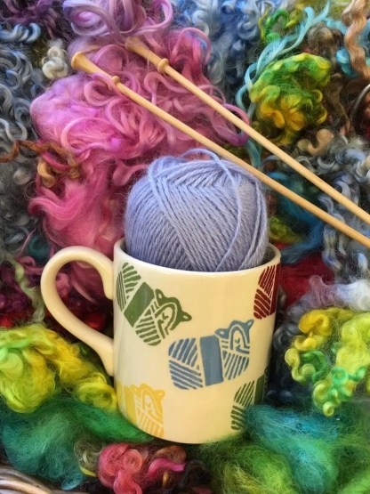 Wensleydale Longwool Sheep Mug on hand dyed wool locks
