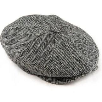 Harris Tweed grey herringbone Peaky Flat Cap