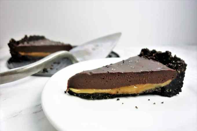 Chocolate Caramel Pie - Dark chocolate ganache and salted caramel in an Oreo crust