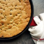 Cast Iron Skillet Chocolate Chip and Salted Caramel Cookie Pie