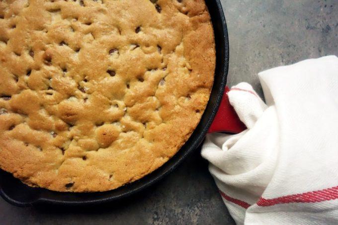 Cast Iron Skillet Salted Caramel Chocolate Chip Cookie Pie