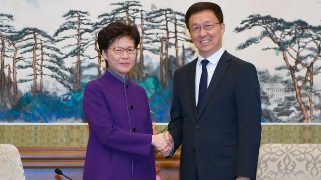 林鄭月娥與韓正在北京釣魚台國賓館會麵。