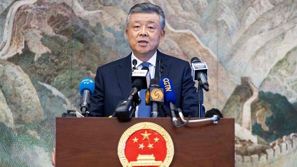 中国驻英国大使刘晓明在伦敦举行记者会
