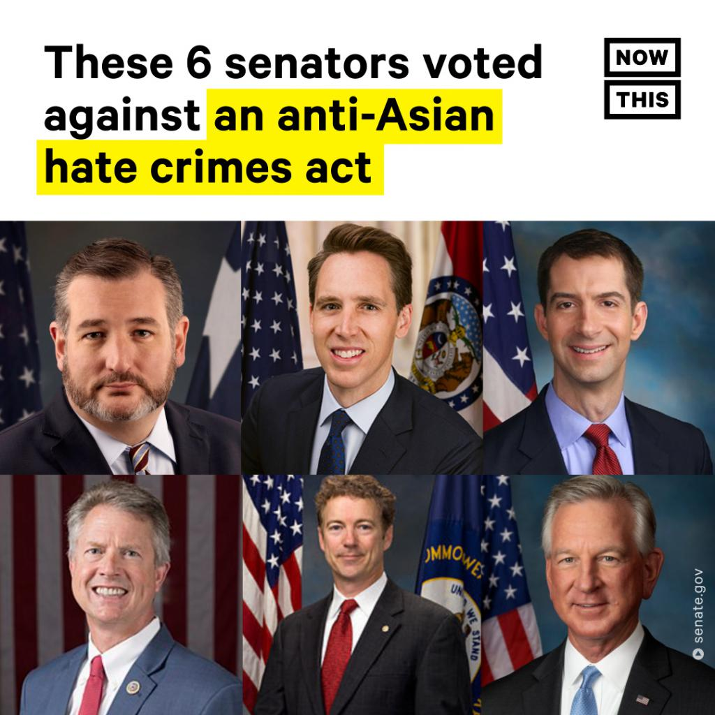 6名美参议员反对立法保护亚裔,猜猜他们是哪个党的?