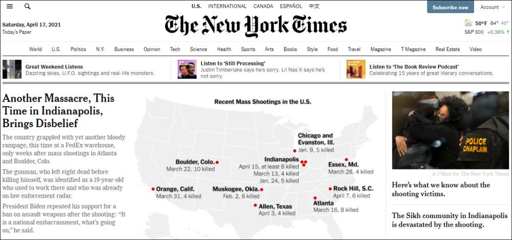 美国1个月45起大规模枪击 CNN:震惊难过骇人听闻吧?