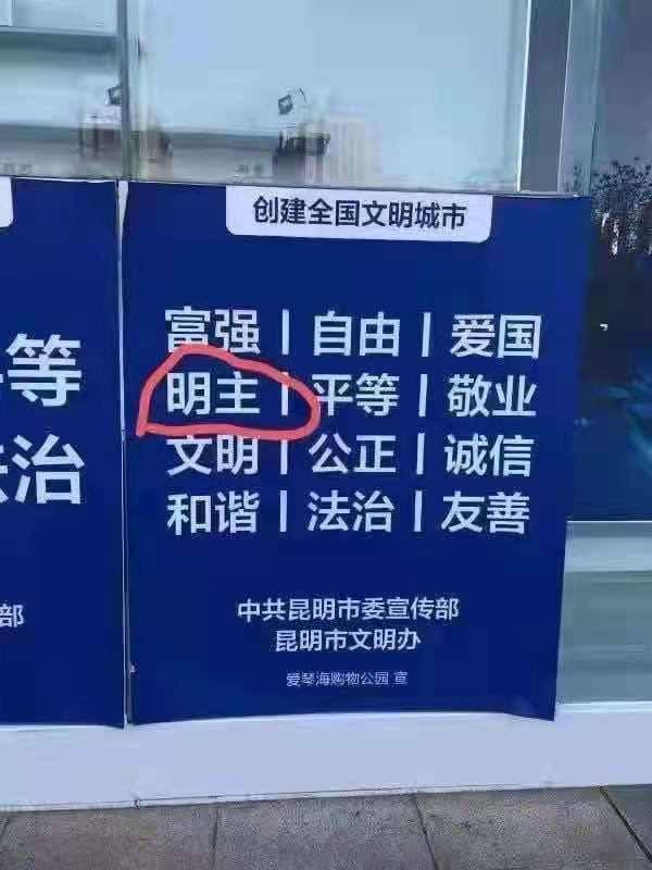 """中国街头宣传广告牌写""""自由明主""""?写错?没毛病?"""