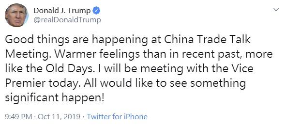 中美第二天貿易談判 特朗普:正有好事發生(圖)