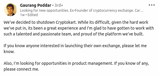 image showing poddar cryptokart closes down notification on linkedin