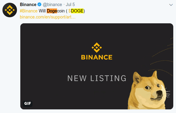 image showing binance exchanges official announcement of dogecoin on twitter