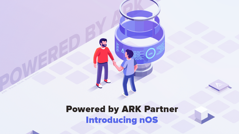 imags showing the announcement that ark.io partners with nOS