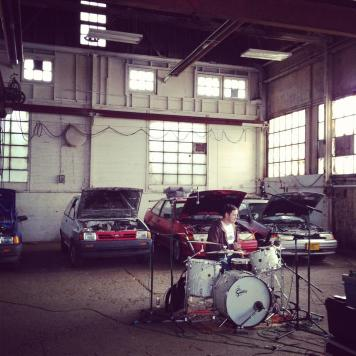 Jeff and some Ford Fiestas. Recording Ghost Notes - September 13-16, 2012