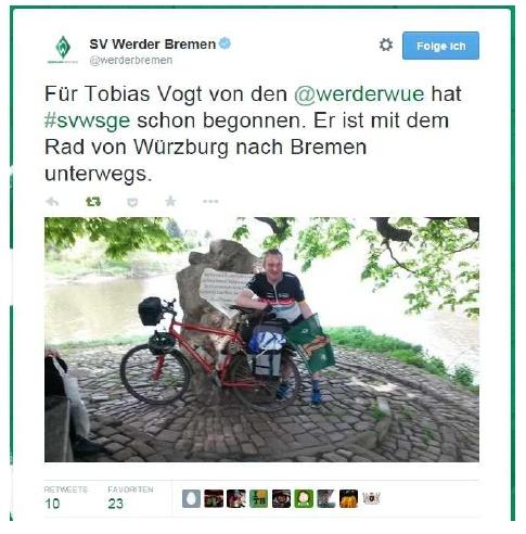 Der Tweet von SV Werder Bremen