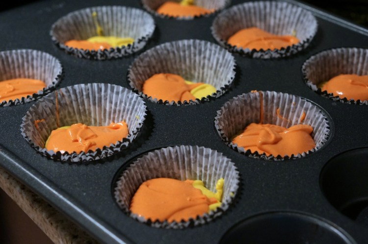halloween colored cupcakes
