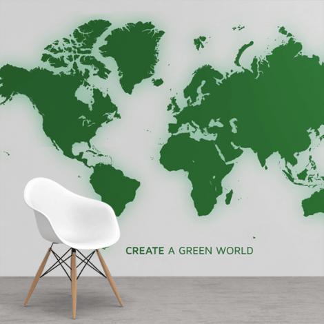 Groen behang  Wereldkaart behang  Wereldkaarten