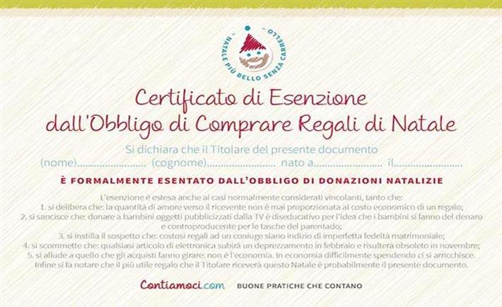certificato d'esenzione dal fare regali
