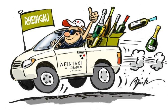 Comic Bild von Apitz gezeichnet. Ilustriert ist das Weintaxi Wiesbaden mit vielen Flaschen Wein und Sekt aus dem Rheingau