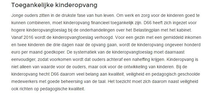 D66 : Standpunt over kinderopvang (2017)
