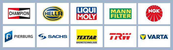 Eine Auswahl von Logos bedeutender Ersatzteilehersteller