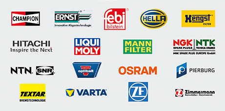 Logos bedeutender Ersatzteilhersteller ( Champion, Ernst, febi, hella, Hengst, Hitachi, Liqui Moly, Mann-Filter, NGK]NTK, NTN, Optibelt, Osram, Pierburg, Textar, Varta, ZF Zimmermann)