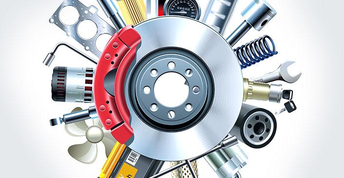Illustration mit Auto-Ersatzteilen