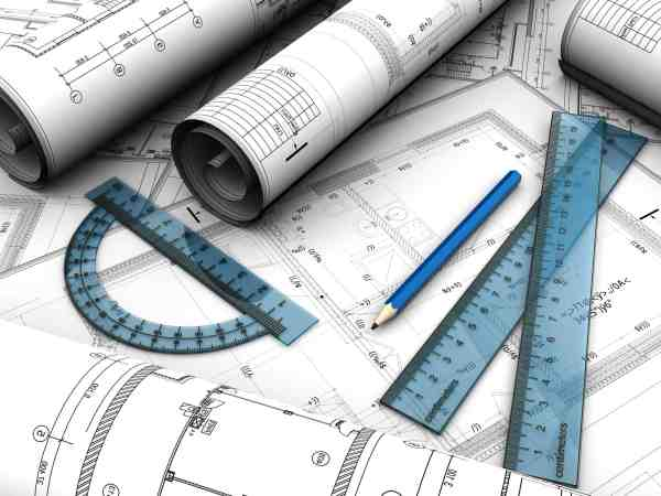 Baustellenpläne, Lineal, Winkelmesser