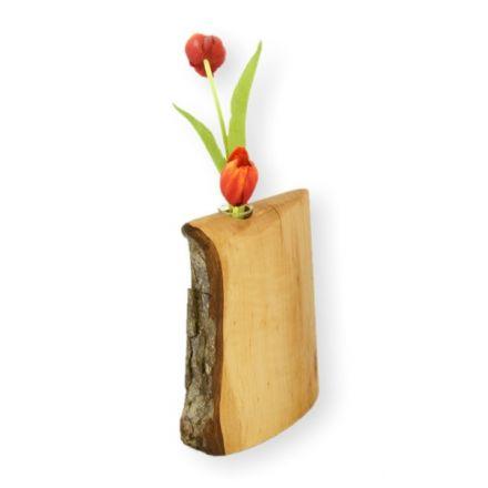 Vase aus Holz mit Rinde klein Blumenvase Holzvase