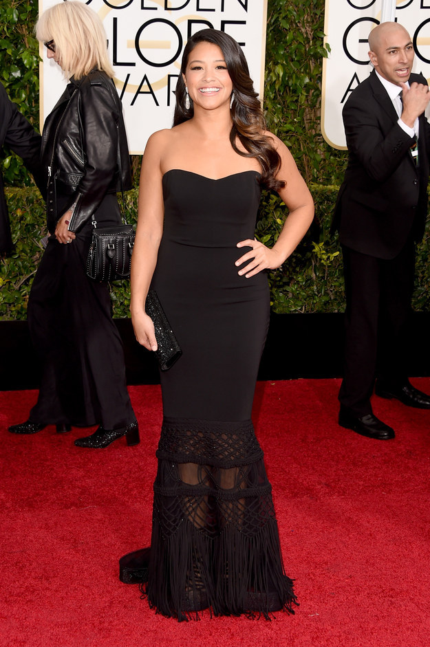 Gina Rodriguez attends the 72nd annual Golden Globe Awards